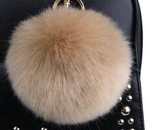 Minigianni 4 inches Big Fluffy Faux Rabbit Fur Pom Pom Charm Ball Keychain Khaki