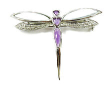 14K White Gold Diamond Dragonfly Brooch Pin ~ 5.4g
