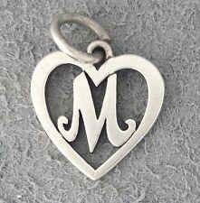 RETIRED Sterling silver James Avery HEART LETTER M charm, open rare