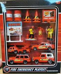 Fire Emergency Playset- 15 Pieces Including 4 Die-cast Fire Engines/Vehicles