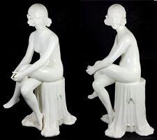 XXXL Art Nouveau Ceramics Figure, Female Nude, Czechoslovakia, um 1920 AL539