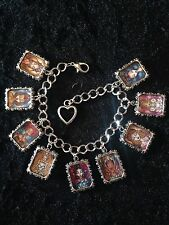 Silver Plated Charm Bracelet With Charms Disney Princess Stained Glass Ariel