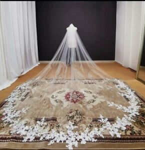 UK 1Tier 3 x 3M Cathedral Length Bridal Luxury Wedding Veil Lace Edge With Comb