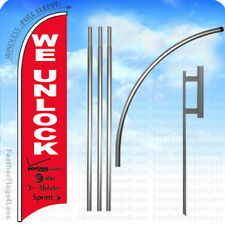 We Unlock - Windless Swooper Flag 15' Kit Feather Cell Phone Banner Sign - rb