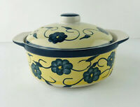 Mulberry 6x3 Inch Yellow With Blue Flowers  Casserole Dish And Lid