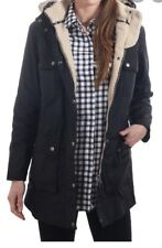 Barbour Carribena Wax Parka- Faux Fur-Navy US 4/ UK 8