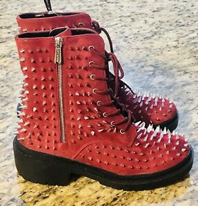 CAPE ROBBIN TRIS Size 5 Burgundy Faux Spike Detail Lace Up Combat Boot Bootie