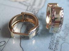 Klappcreolen 2-farbig Gold 333 diamaniert 13 x 5 mm, Ohrringe Gold 333 bicolor