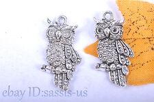 10S 24mm Charm 3D owl pendant Diy Jewelry Bracelet Necklace Tibet Silver 7053