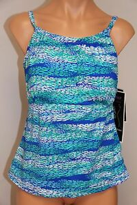 NWT Real Bodies Real Solutions Swimsuit Tankini Top Sz 10 D-cup MLTI High Neck