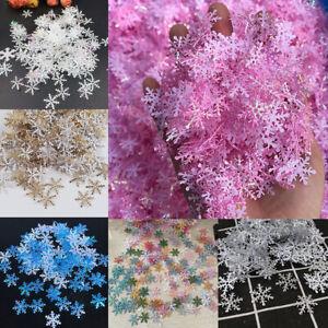300pcs Plastic Snowflake Hanging Ornament Xmas Tree Decor Party Supplies