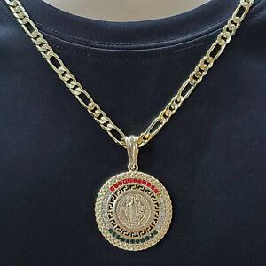 Gold Plated Saint Benedict pendant w chain Medalla San Benito Oro laminado