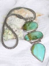 VTG Wheat Chain 3 Pc Hinged Turquoise 925 Sterling Silver Pendant Necklace 185gr
