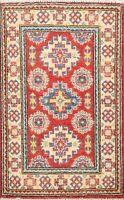 Hand-Made Geometric Super Kazak Area Rug Traditional Home Decor RED Carpet 2'x3'