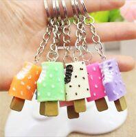 Fashion Cute Ice Cream Pendant Keychain Food Car Key Chain For Women Girl 5pcs
