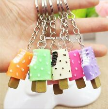 Fashion Cute Ice Cream Pendant Keychain Food Car Key Chain For Women Girl 5pcs