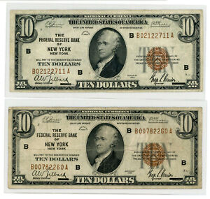 (2) 1929 $10 Ten Dollar U.S. National Currency Notes. FR1860-B. New York. VF
