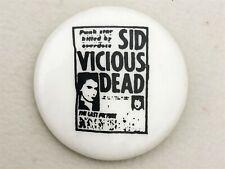 Vintage 1980's Sid Vicious Dead concert pin back button - Sex Pistols punk