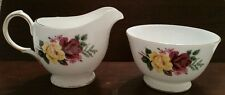 VTG Queen Anne Bone China England Creamer and Sugar Dish Red Yellow Roses