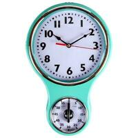 Lily's Home Retro Kitchen Timer Wall Clock, Bell Shape -Turquoise