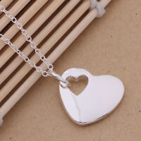 New cute 925 sterling Silver charm trend Heart Pretty women classic Necklace