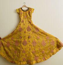 Yellow And Pink Anarkali Salwar Kameez Thread Work Indian Party Wear