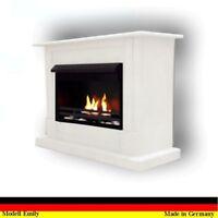 GELKAMIN KAMIN ETHANOLKAMIN  Fireplace Emily Premium Weiss incl. 21 teil. set