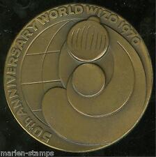 ISRAEL 50TH ANNIVERSARY WORLD WIZO 1970 59MM BRONZE MEDAL W/ BOX AS SHOWN
