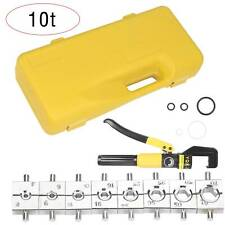 10T Hydraulic Crimper Crimping Tool Wire Battery Cable Terminal Lugs with 8 Dies