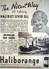 1937 'HALIBORANGE' Halibut Liver Oil Chemist ADVERT #1 - Small Art Deco Print Ad