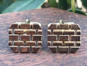 Vintage Gold Metal Cuff Links Mid Century