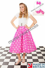 "Adult 1950's 50's GREASE Style Polka Dot 24""Length Skirt & Scarf/Bow Fancy Dress"