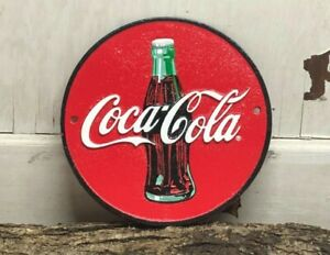 "~ Coca-Cola ~Heavy Cast Iron Round Sign 9"" ~ Diner Bottle Soda"