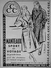 PUBLICITÉ CCC COMPTOIR COMMERCIAL CAOUTCHOUC MANTEAUX SPORT ET VOYAGE