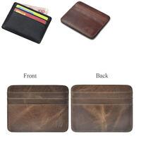 Real Leather ID Credit Card Holder Wallet Slim Pocket Case Cardholder Brown