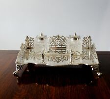 FINE VINTAGE WALKER & HALL SILVER LARGE GALLERY INKSTAND Antique Silver Desk Set