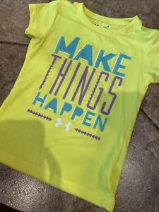Cute Little Girls Size 4 Under Armour Bright Yellow Short Sleeve