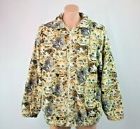 Vtg Bon Worth Fleece Jacket Sz L All OVer Print Kitty Cat Sweatshirt Zip 80s