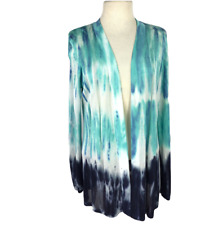 Belldini Womens L Tie Dye Open Sweater Relaxed Cotton Tencel Rayon LS Blue White