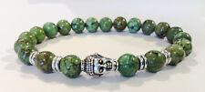 Chrome Buddha/Green Tibetan Turquoise Beaded Zen Stretch Bracelet Men/Women
