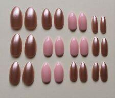 24 Full Coverage False Nails Pink Rose Gold Stiletto