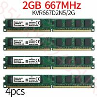 Pour Kingston 8GB 4x 2Go PC2-5300U DDR2 667Mhz 1.8V KVR667D2N5/2G DIMM RAM ZT FR
