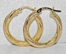 9CT GOLD GLITTERY LADIES CREOLE HOOP EARRINGS