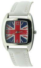 Unisex Childs Union Jack White Strap Square Face Fashion Quartz Watch bxd 16c