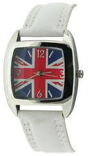 Unisex Childs Union Jack White Strap Square Face Fashion Quartz Watch bxd 16c
