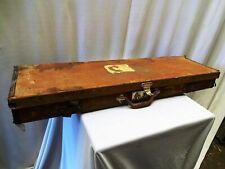 Antique Gun Case Wooden Leather Cloth Mounted Victorian Gun Display Cabinet Old*