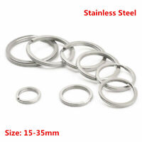 Stainless Steel Key Ring Split Rings 15~35MM Loop Flat Keyring Key Chain Links