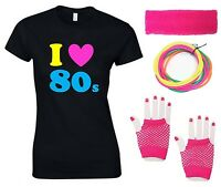 I LOVE THE 80s Ladies T-Shirt & Accessories - Fancy Dress Costume Outfit 80's