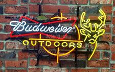 """New Budweiser Outdoors Deer Man Cave Neon Light Sign 24""""x20"""" Beer Lamp"""