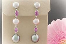 Schmuck Perlenohrstecker mit Pink Saphir Tahiti Perlen 750er Weißgold LP 6.630,-